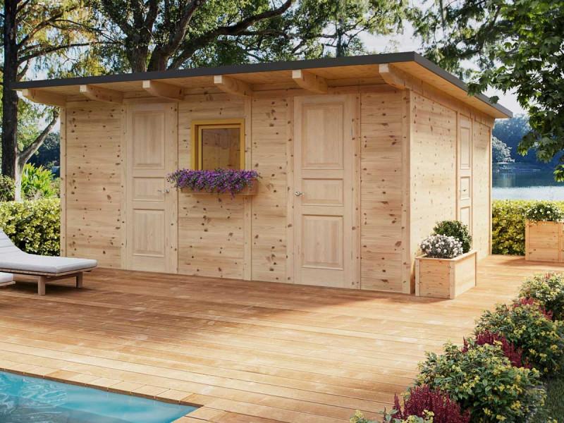 Poolhaus mit Holzterrasse - Wir bauen Ihr Gartenhaus