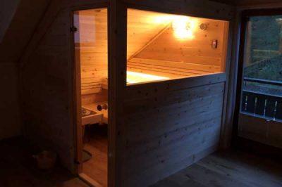 Sauna nach Kundenwunsch konfiguriert