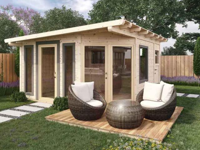 Gartenhaus und Geräteschuppen aus Lärchenholz für die Gartengestaltung