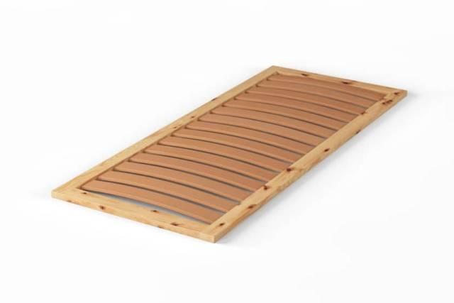 Gefederter Lattenrost aus Zirbenholz mit Buchenlatten