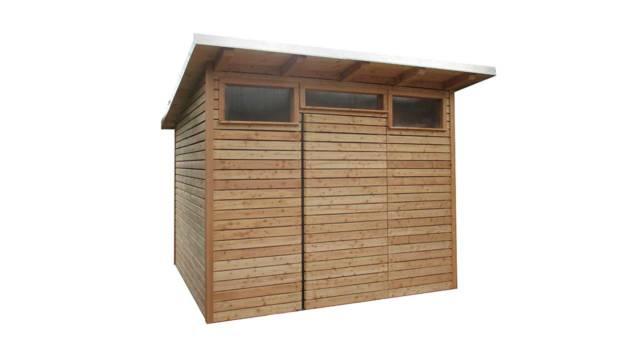 Unser Gerätehaus Delos ist ein kleiner Geräteschuppen aus Holz für Ihren Garten.