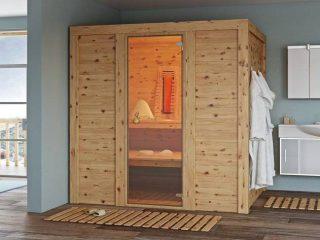 Unsere Zirbensauna Megisto kombiniert einen finnischen Saunaofen mit modernen Infrarotstrahlern