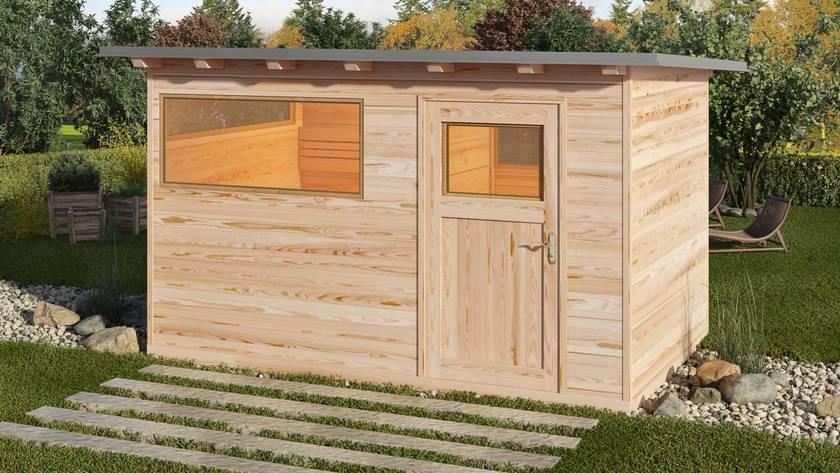 Zirben-Aussensauna mit Vorraum - Sauna Lemuria