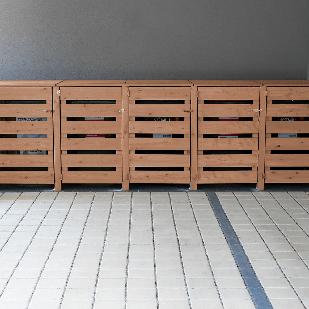 Mülltonnenboxaus Lärchenhholz- elegante Behausung für Mülltonnen im Garten
