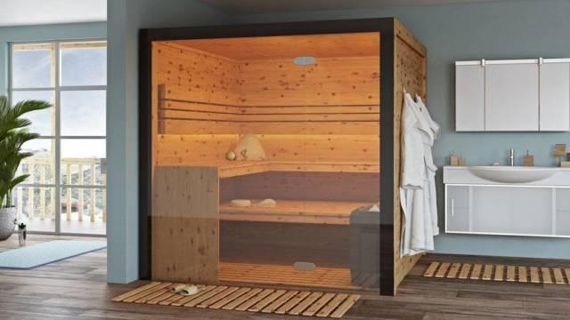 Sauna im Glasfront - Unser Modell Arcadia besticht durch seine moderne Erscheinung