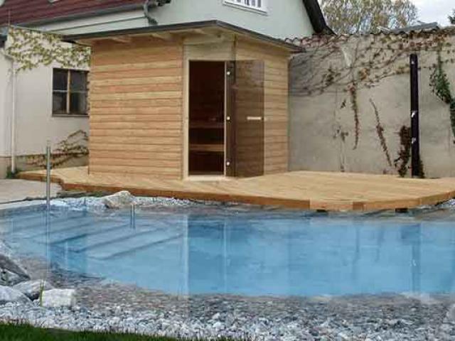 Wir fertigen ihr individuelles Poolhaus zum selber bauen, gerne auch mit integrierter Sauna