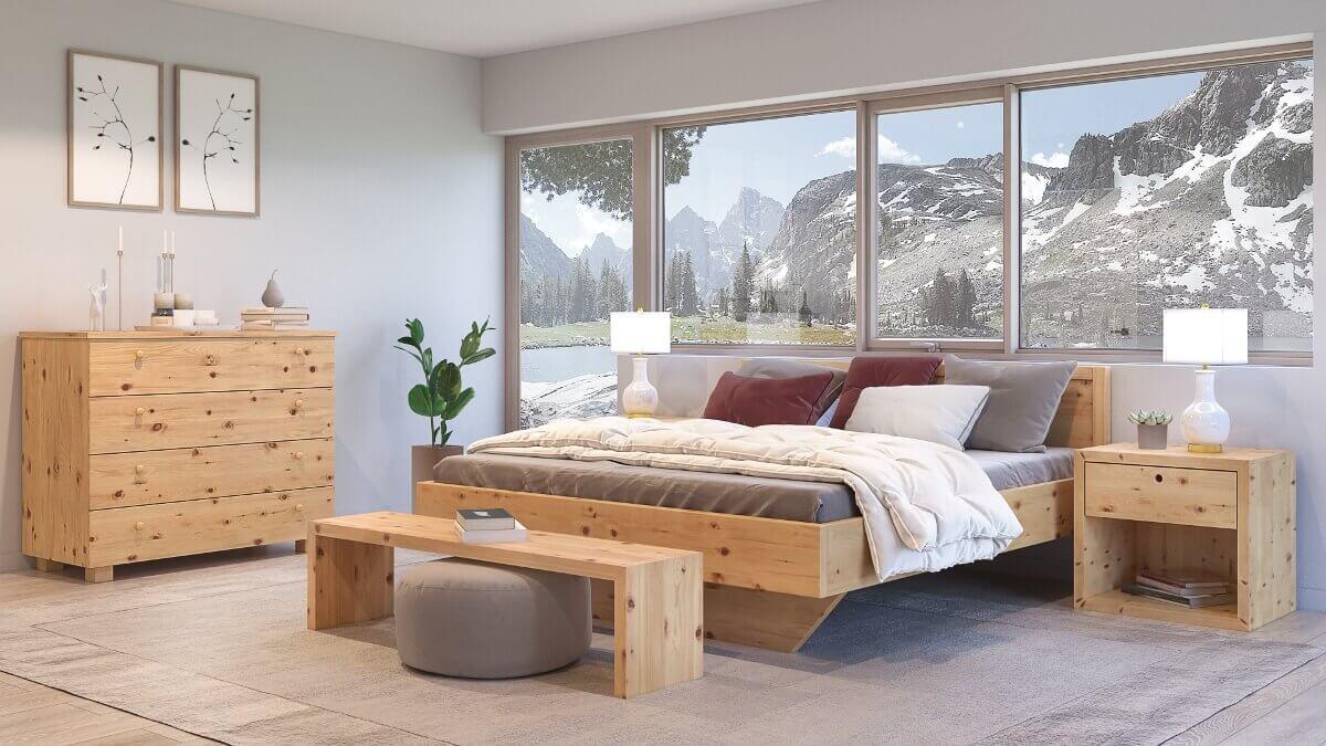Zirbenbett Schlosserkogel aus massivem Zirbenholz