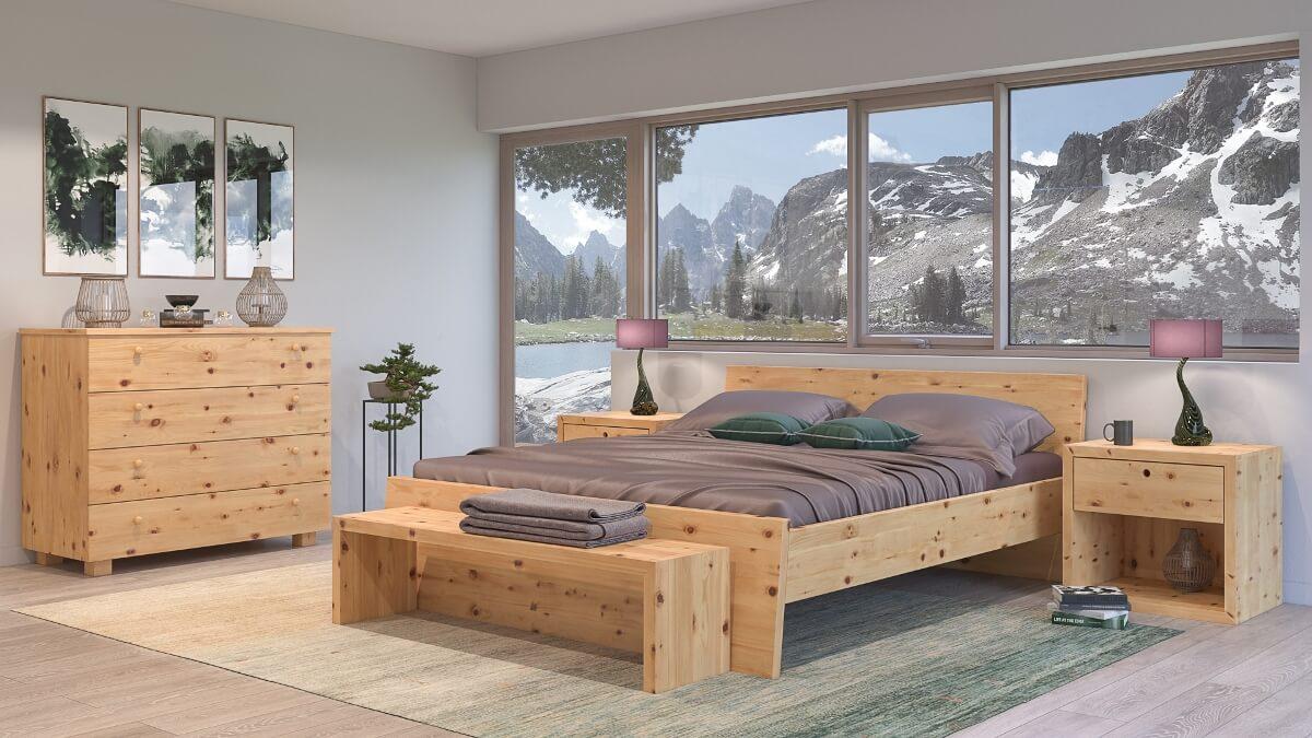 Zirbenbett Weißeck aus massivem Zirbenholz