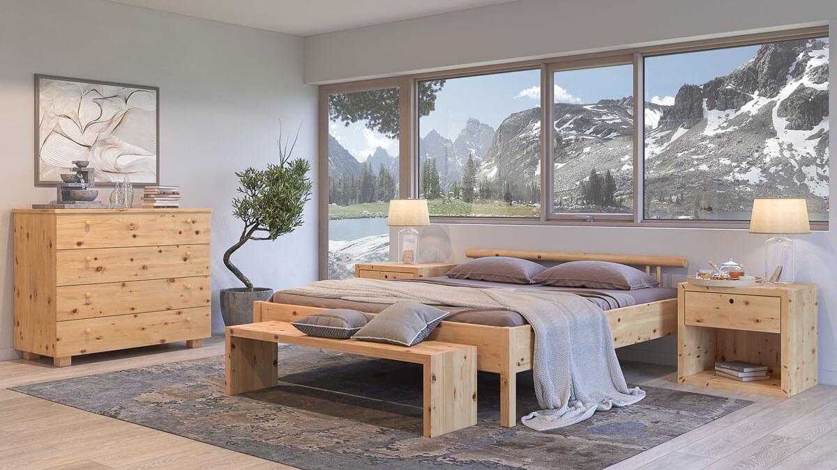 Zirbenbett Winterleitensee aus massivem Zirbenholz